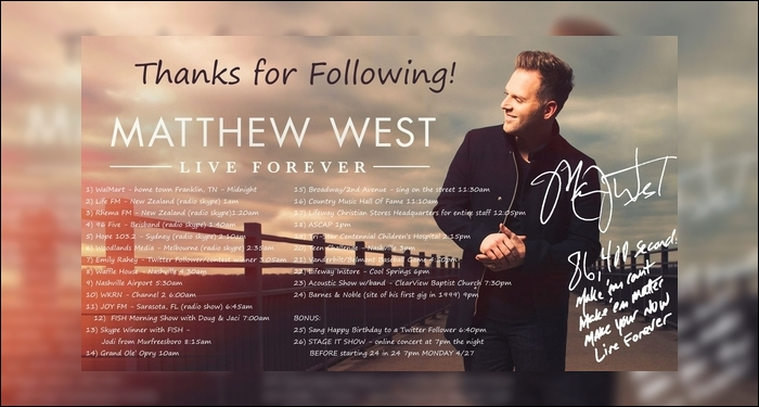 Matthew West Plays 24 Shows in 24 Hours