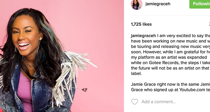 Jamie Grace No Longer with Gotee Records